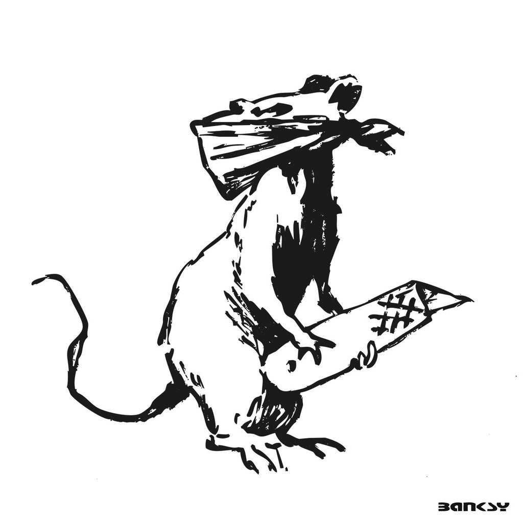Banksy New Rat in Paris, Graffiti Street Art – Print on Metal