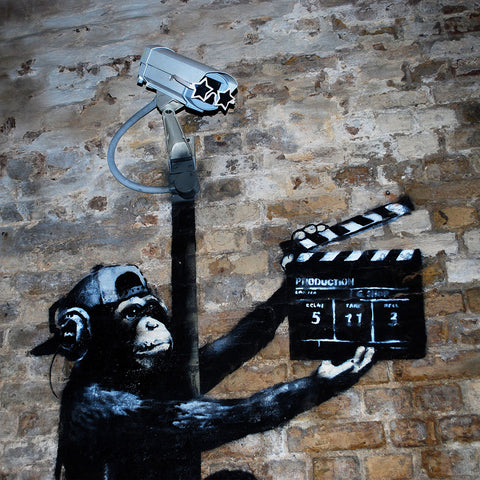 Banksy Monkey Making a Movie – Graffiti Street Art – Photo Printed on Metal
