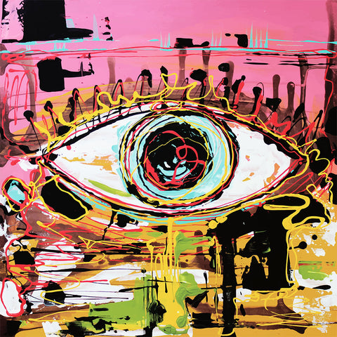 EYE Abstract Painting – Extra Large Digital Art on metal