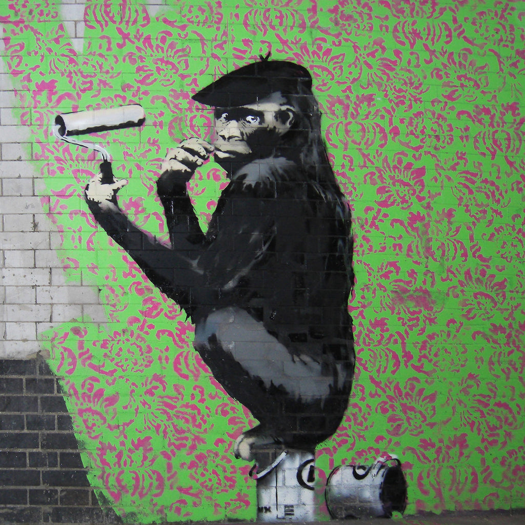 Banksy Monkey Painting Wall, Graffiti Street Art – Print on Metal