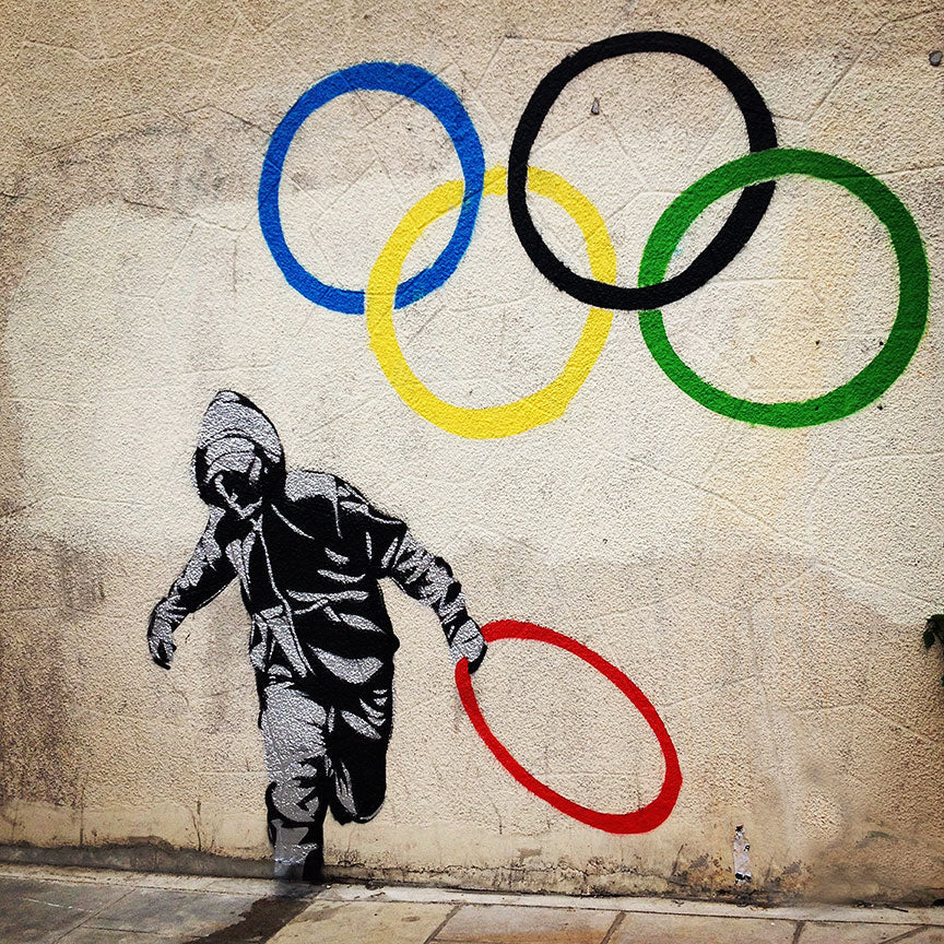 Banksy Olympic Rings, Graffiti Street Art – Metal Poster