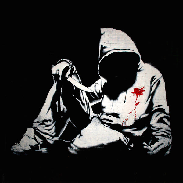 Banksy, Hoody with knife – Graffiti Street Art