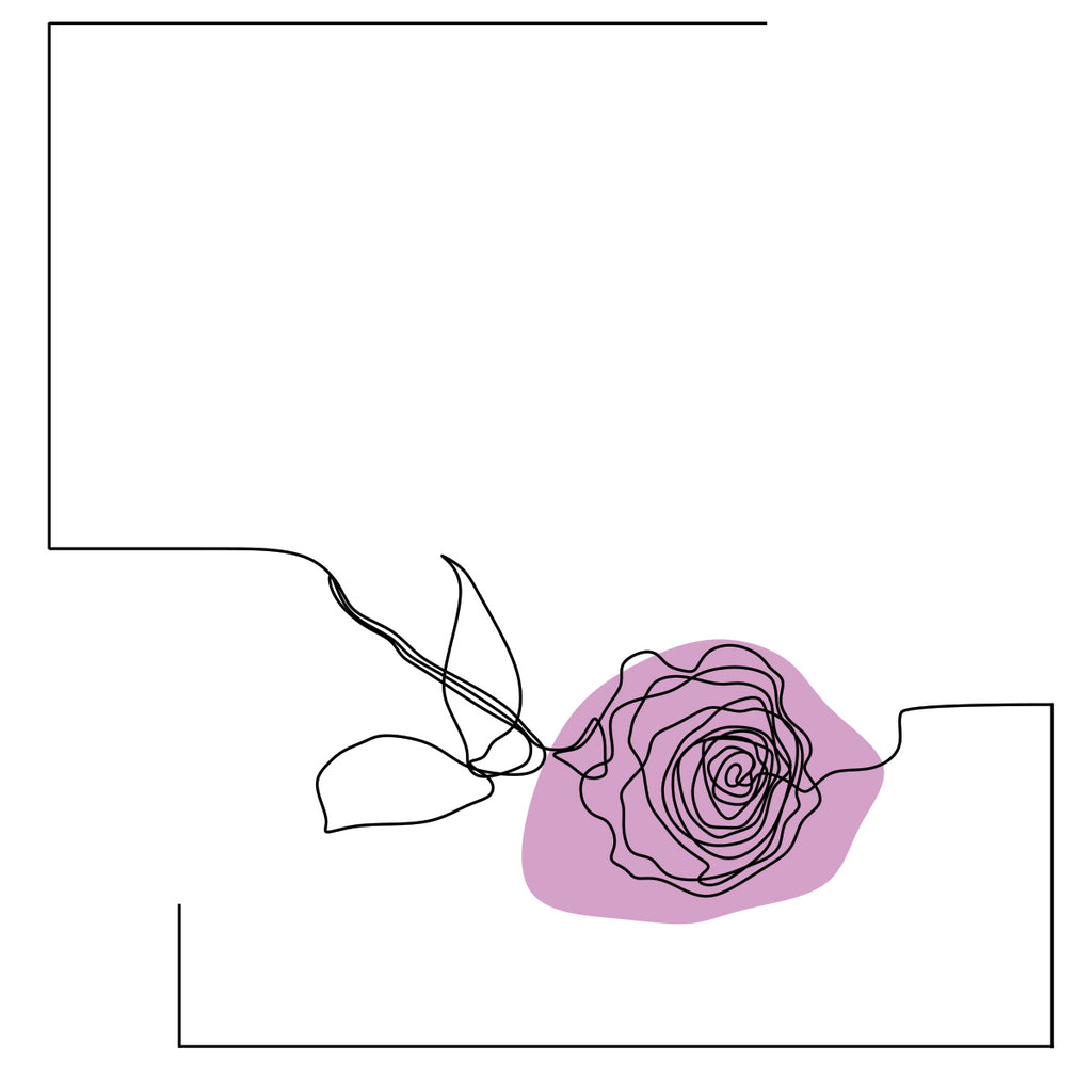 Rose, One Line Drawing, Extra Large Digital Metal Art Print