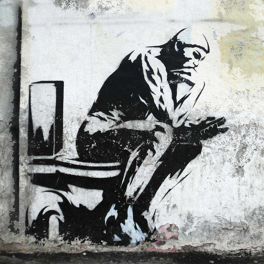 Graffiti Thinker not Banksy – Large Wall Metal Art Print