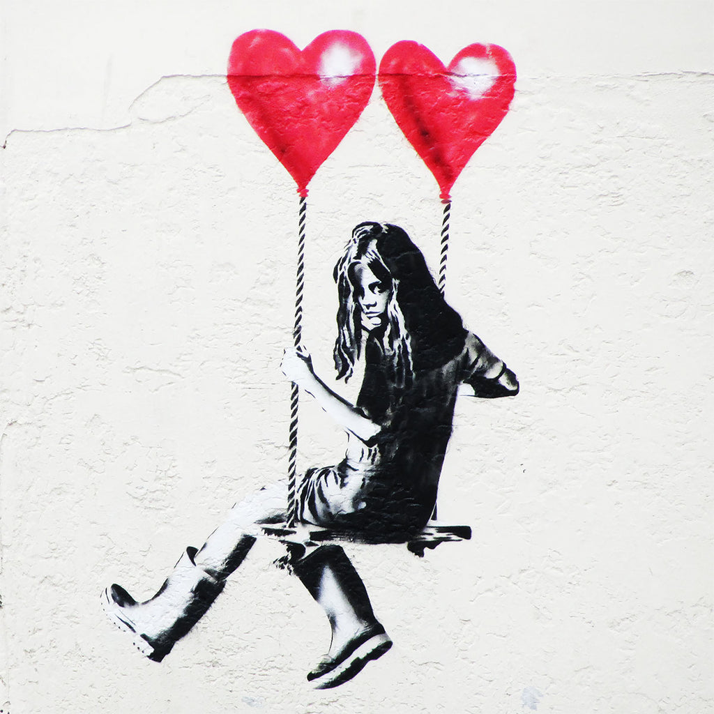 Banksy Girl On Swing Graffiti Street Art Giant Canvas Art Print