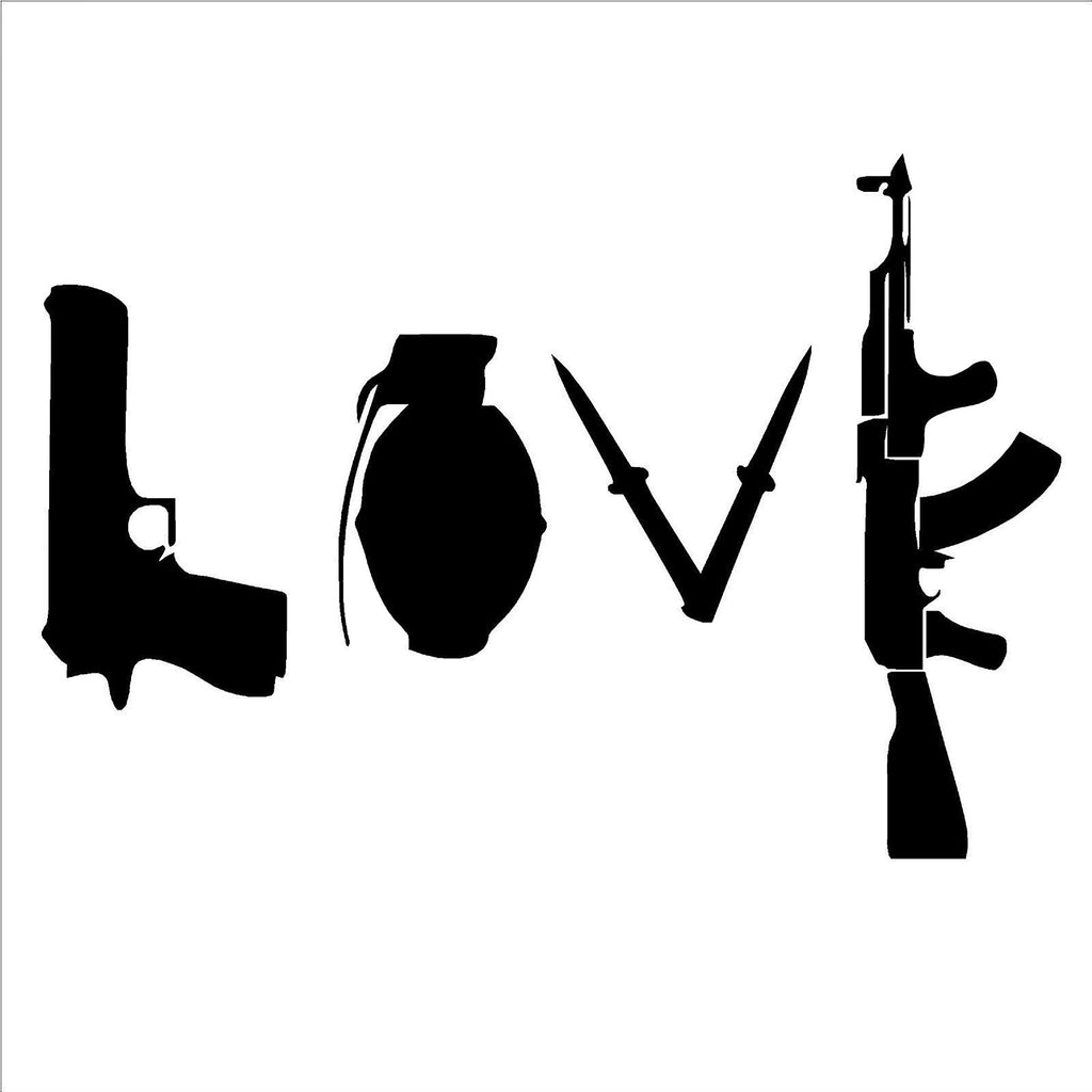 Banksy Love Weapon – Graffiti Street Art – Print on Metal