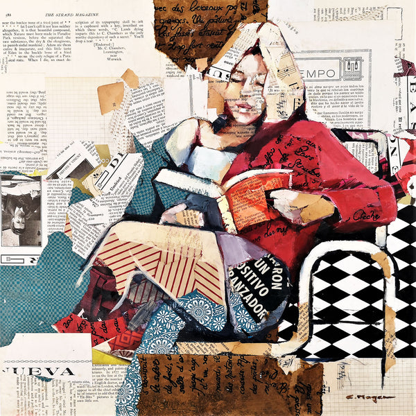 Carme Magem, Lectura – Collage Art Printed on Metal