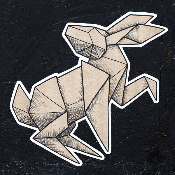Paper Rabbit Low Poly Art Graffiti Street Art – Metal Poster