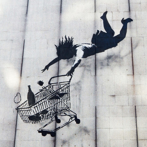 Banksy WOMAN FALLING WITH SHOPPING CART, Graffiti Street Art – Print on Metal