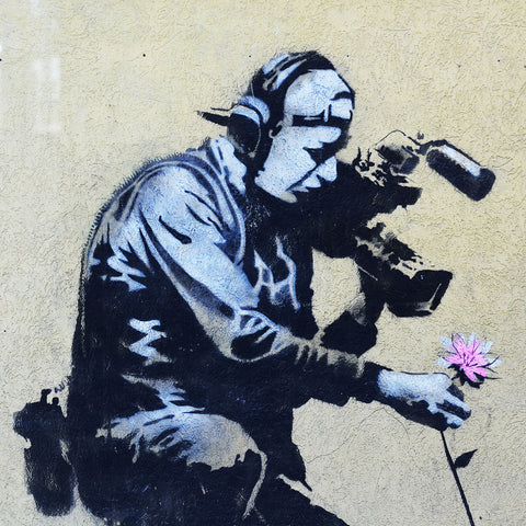 Banksy Camera Man & Flower, Graffiti Street Art