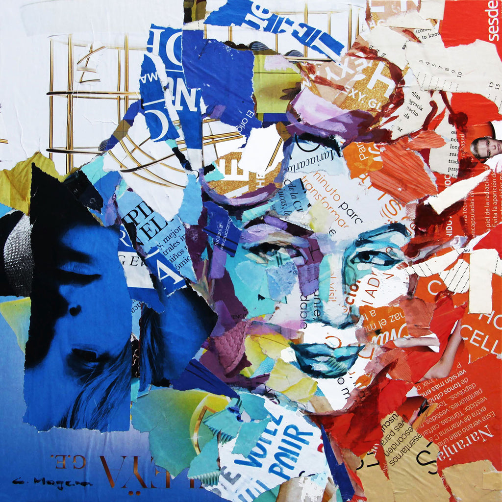 Carme Magem, Woman Portrait – Collage Art Printed on Metal