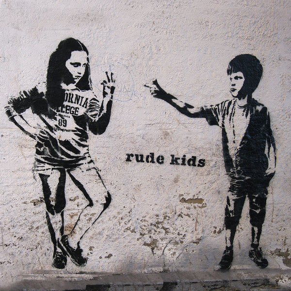 Banksy Rude Kids, Graffiti Street Art – Print on Metal