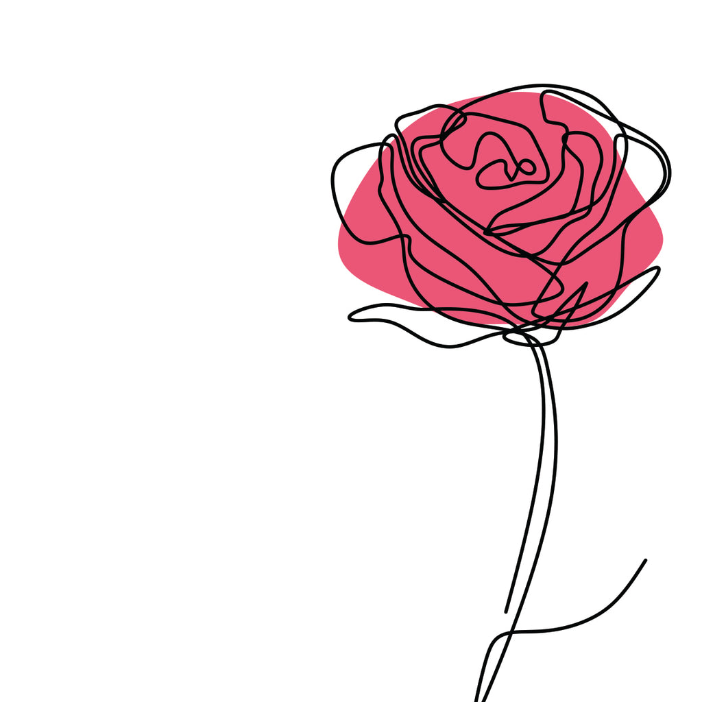 Rose, One Line Drawing – Extra Large Digital Metal Art Print