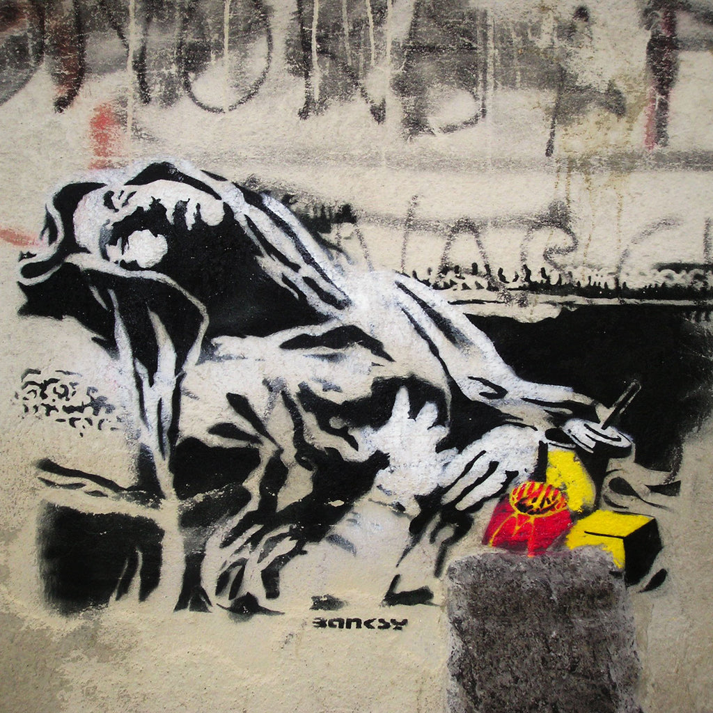 Banksy Fast Food Sleeping Person, Graffiti Street Art – Print on Metal