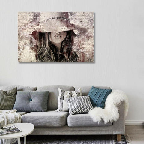 Woman with Hat – Large Modern Art-New Art Studio-newARTmix