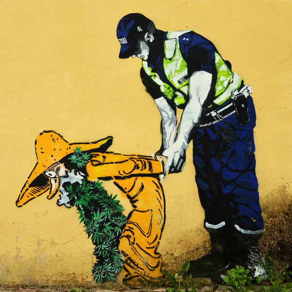 Police Arrested a Mushroom – Graffiti Street Art on Metal