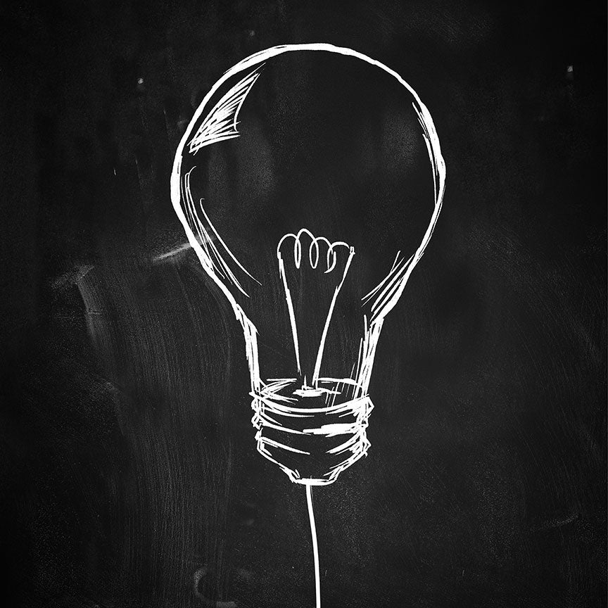 Light Bulb Hand-drawn Sketch On Blackboard