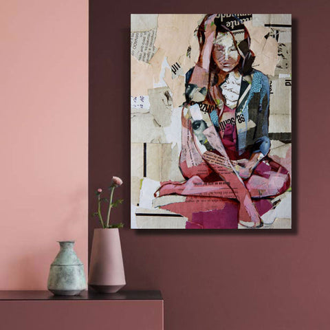 Sitting Woman – Collage Art Printed on Metal
