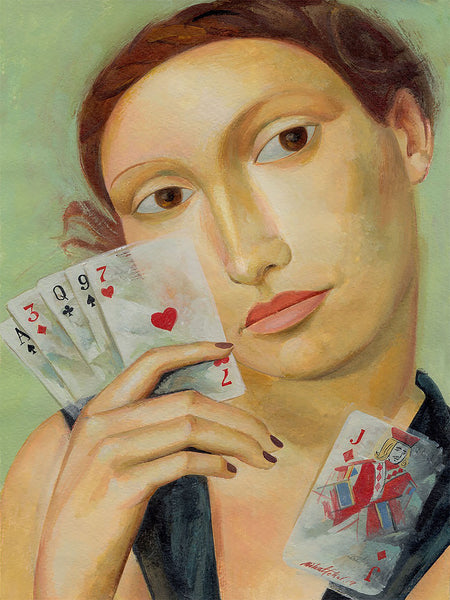 Portrait Woman With Cards