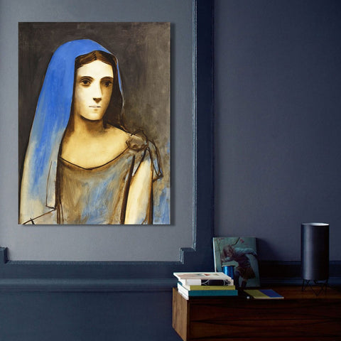 Woman in blue veil (1924) – Reproduction on Metal