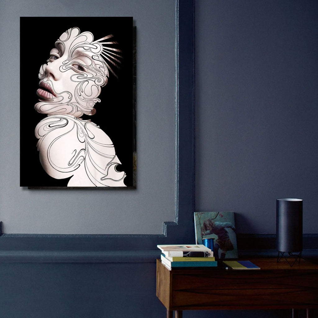 Woman Portrait on Black Background – Large Modern Art