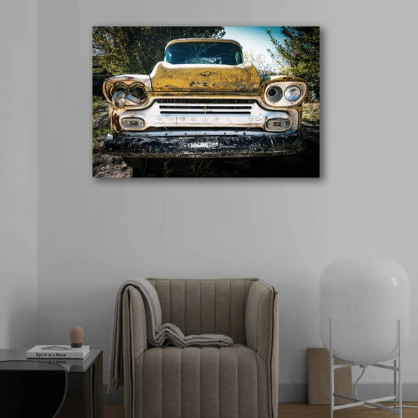 Retro car (front) in Grunge Style – Photo on metal