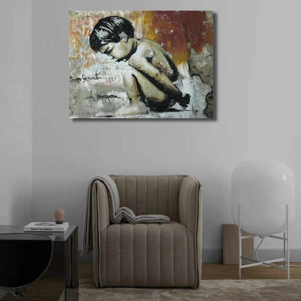 Sitting Boy not Banksy, Graffiti Street Art – Print on Metal