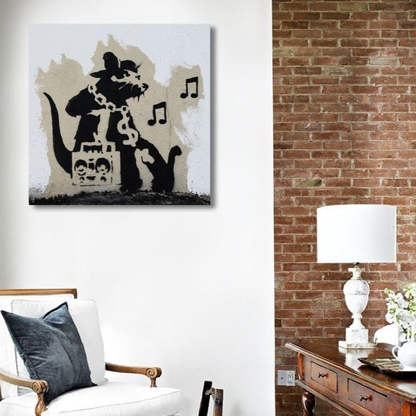 Banksy Music Rat, Graffiti Street Art – Print on Metal