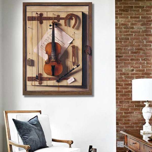 Still life Violin and Music – Reproduction on Metal