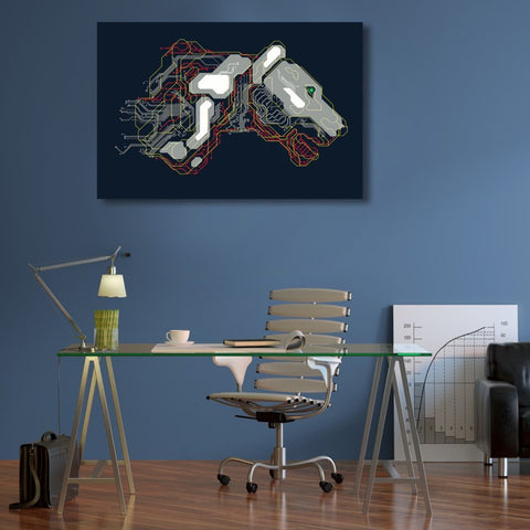 Lion Cyborg Circuit Board Pattern, Metal Poster