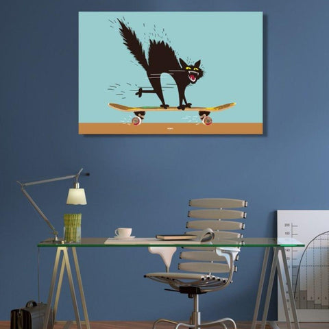 Skateboard Cat by Zelko Radic – Metal Poster