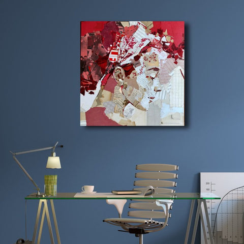 A Bright Red – Collage Art Printed on Metal