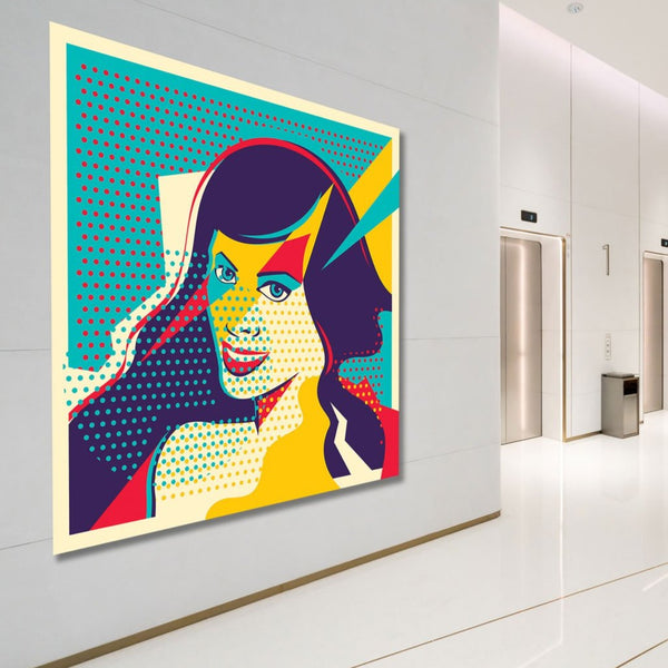 Pop Art Woman Portrait, Digital Art – XXL Wall Metal Print