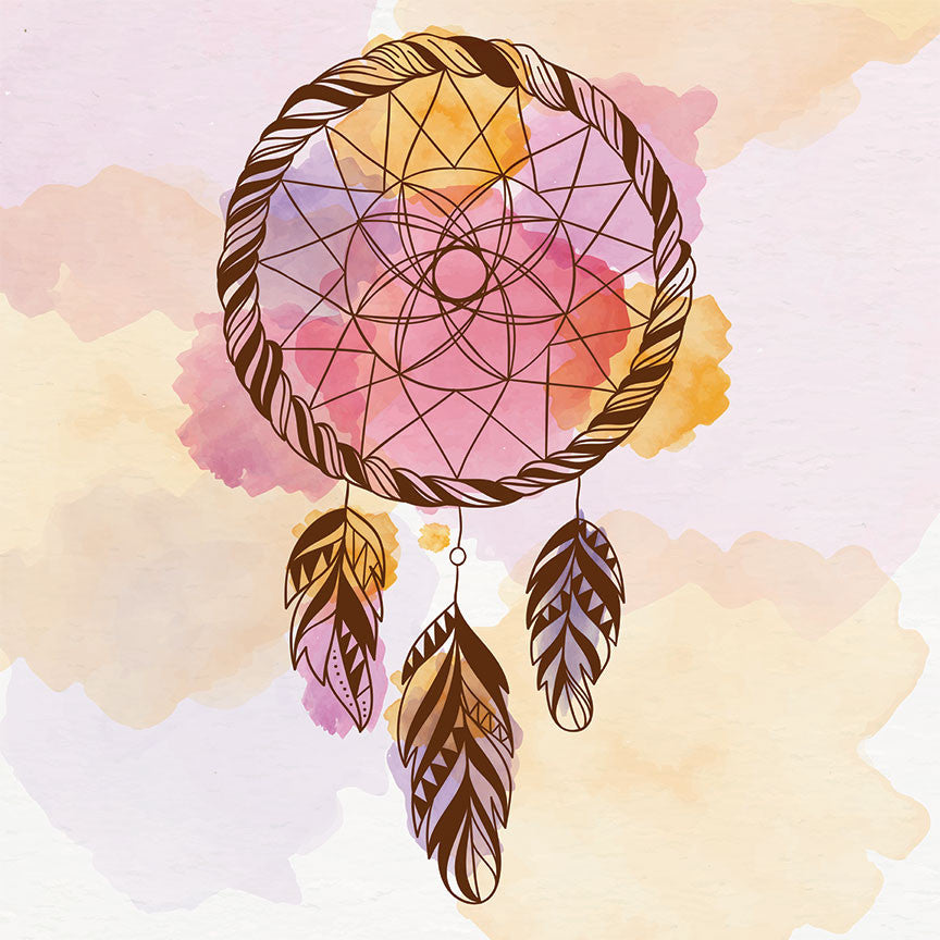 Tribal Watercolor Dream Catcher In Pink Large Modern Digital Art Fascinating Water Color Dream Catcher