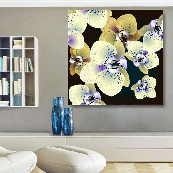 Orchid Floral Pattern, Digital Art – Extra Large Metal Art Print