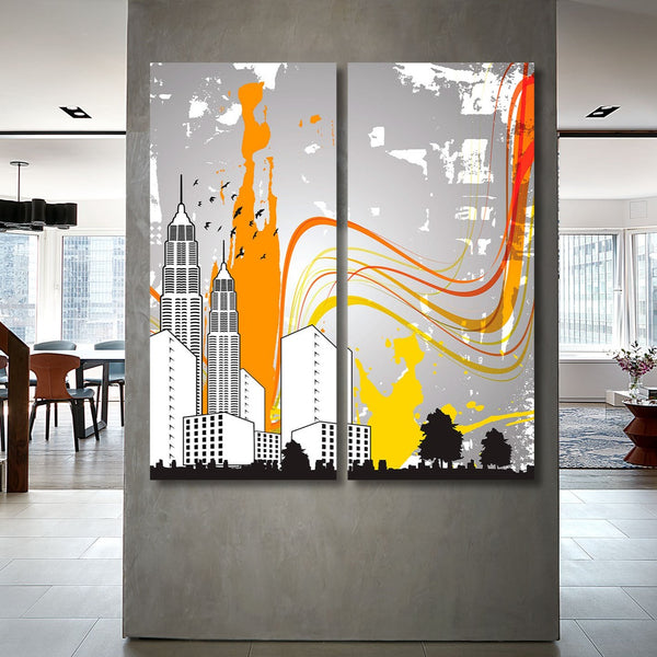 City Landscape, Digital Art – XXL Wall Metal Print