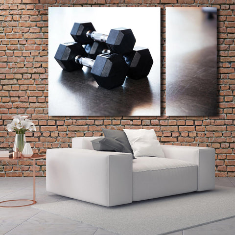Dumbbell on the floor, Extra Large Wall Metal Art – Photo on metal