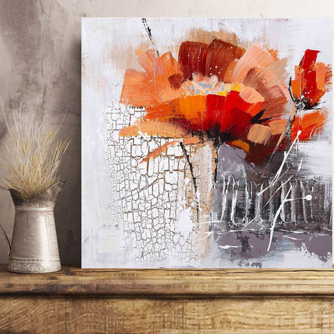 Watercolor Red Flower in Grunge style – Art print on Metal