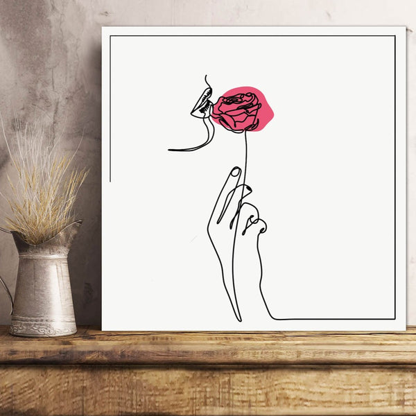 Woman's hand with rose, One Line Drawing – Extra Large Digital Metal Art Print