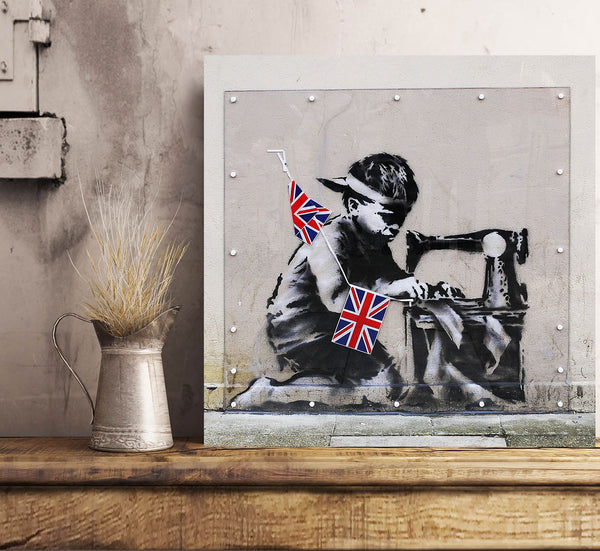 Banksy Slave Labour (Bunting Boy), Graffiti Street Art – Print on Metal