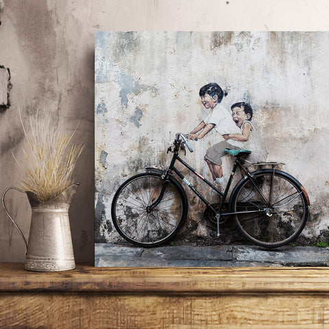 Kids on the bike by E. Zacharevic (Penang) – Graffiti Street Art Printed on Metal