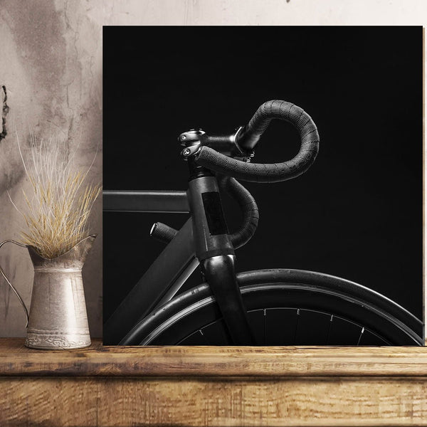 Bike on Black Background, Minimalism – Large Metal Wall Art Print