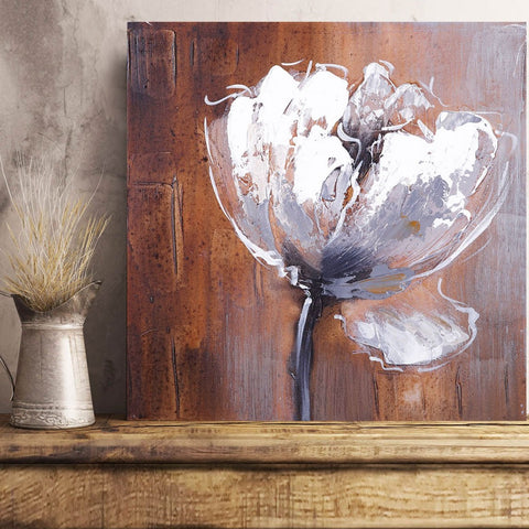 Watercolor White Flower in Grunge style – Art print on Metal
