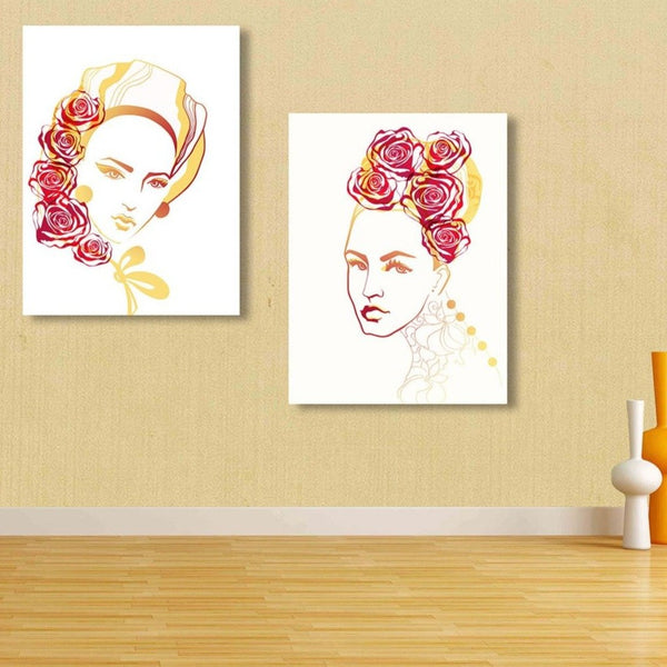 Woman Portrait with Roses, Digital Metal Art Print
