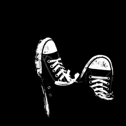 Sneakers on Black Background – Modern Art Minimalism