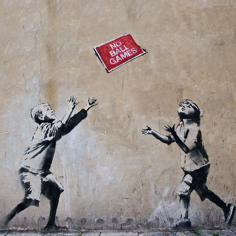 Banksy No Ball Games, Graffiti Street Art – Print on Metal