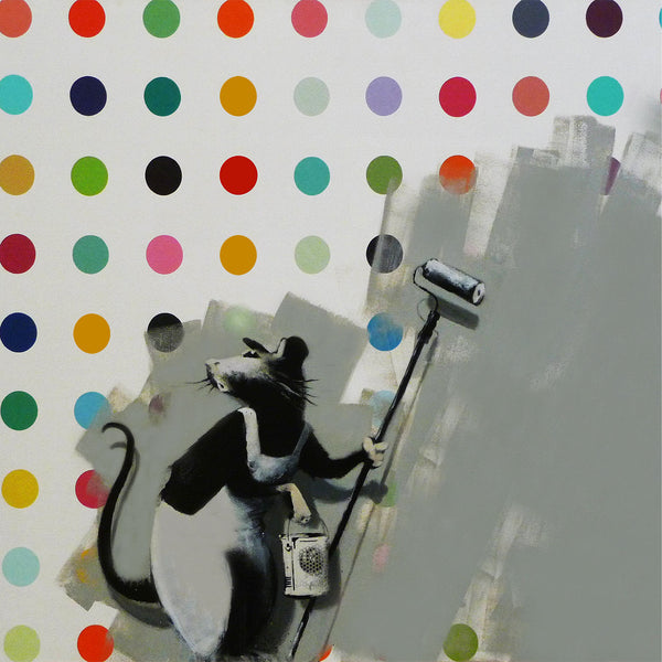 Banksy Rat Spots Damien Hirst, Graffiti Street Art – Print on Metal