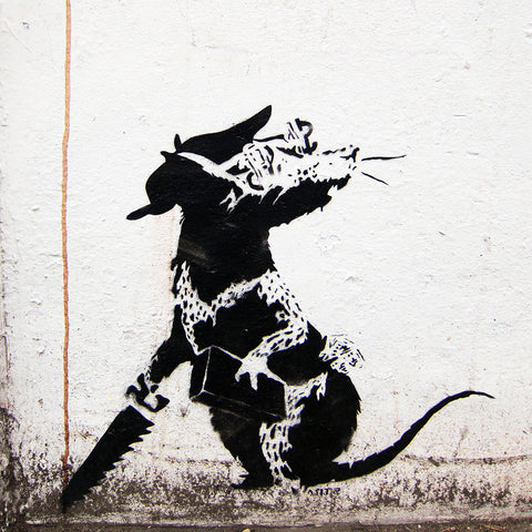 Banksy Rat Closeup With Dollar Eyes, Graffiti Street Art – Print on Metal