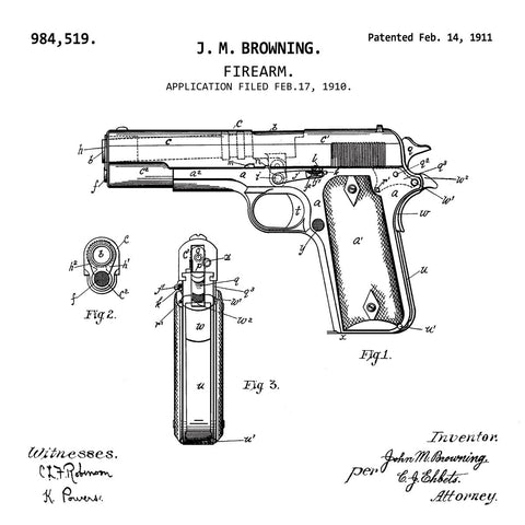 FIREARM BROWNING (1911, J. M. BROWNING) Desktop Patent Print-New Art Mix-newARTmix