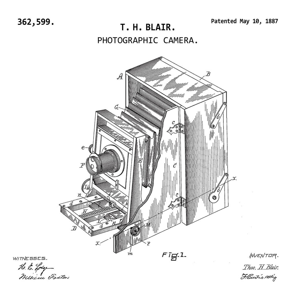 PHOTOGRAPHIC CAMERA (1887, T. H. BLAIR) Patent Print